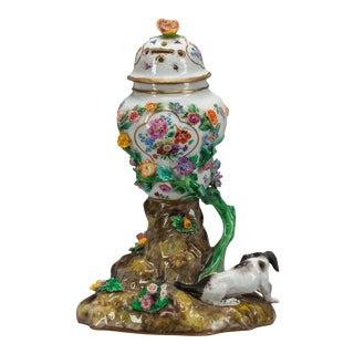 18th Century German Meissen Floral Porcelain Potpourri For Sale