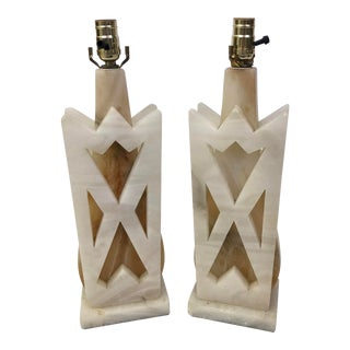 Solid White Onyx Stone Art Deco Lamps - a Pair For Sale