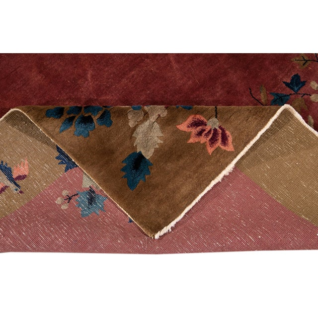 Art Deco Early 20th Century Antique Art Deco Chinese Red Wool Rug For Sale - Image 3 of 13