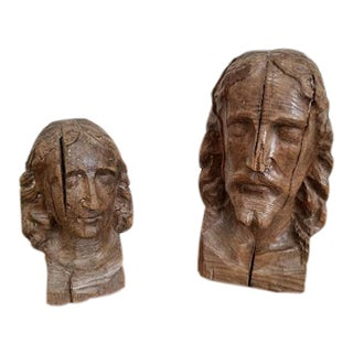 19th Century Hand Carved Wooden Religious Busts - Set of 2 For Sale
