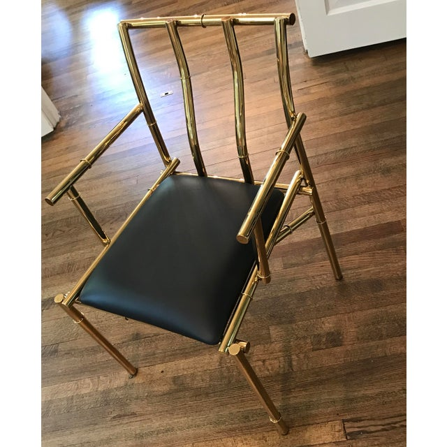 Golden Metal Bamboo & Black Sculpture Chair For Sale - Image 4 of 7
