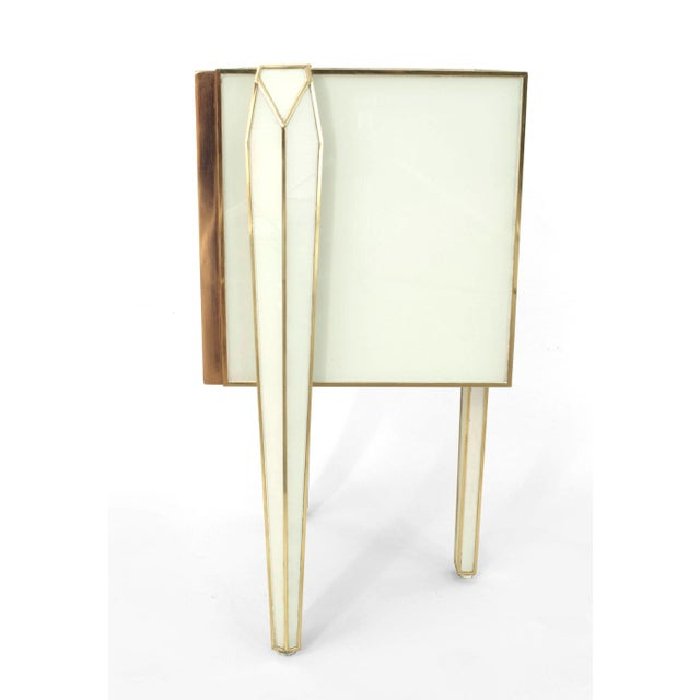 Early 21st Century Pair of Limited Edition Giltwood With White Glass and Brass Side Commodes For Sale - Image 5 of 8