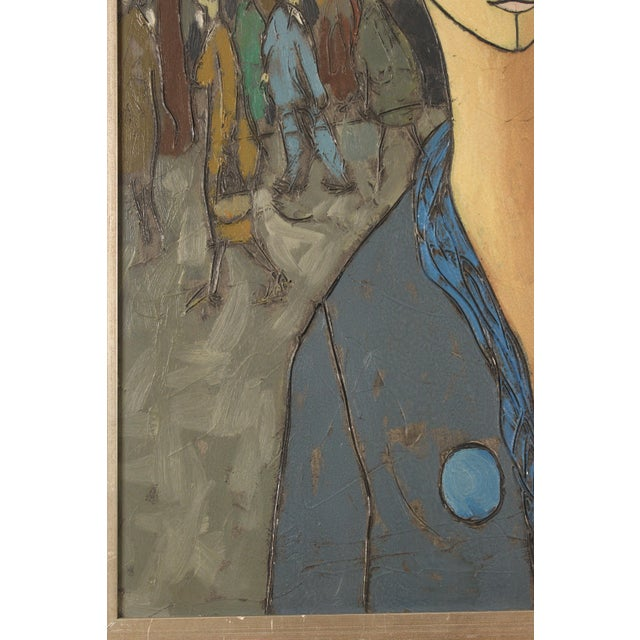 1960s Painting of a Lady in Blue by Philippe Marchand For Sale - Image 5 of 13