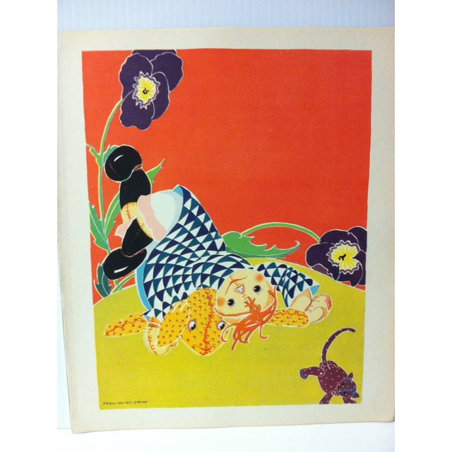 """This is a vintage Rag Doll Jane color print that is titled """"She Fell Over Something that Barked like a Dog and Mewed like..."""