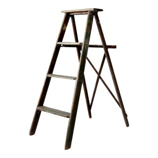Vintage Green Wood Ladder For Sale