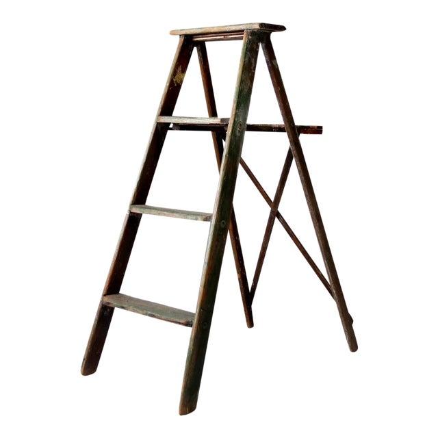 Vintage Green Wood Ladder For Sale