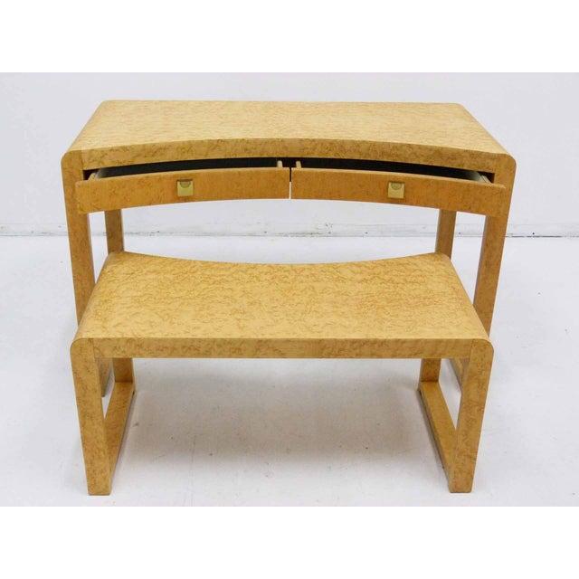 Birds Eye Maple Burl Wood Desk & Bench - Image 4 of 11