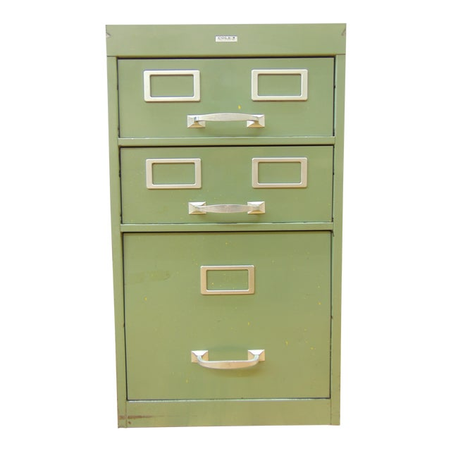 Cole industrial light green metal file cabinet chairish cole industrial light green metal file cabinet malvernweather Images