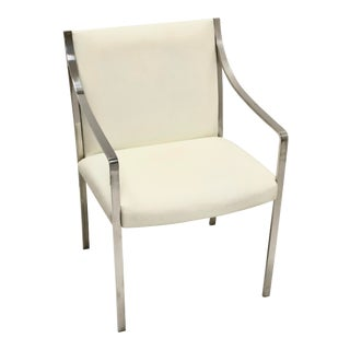 Vintage Stow Davis Polished Steel Mid-Century Arm Chair Designed by Bert England For Sale