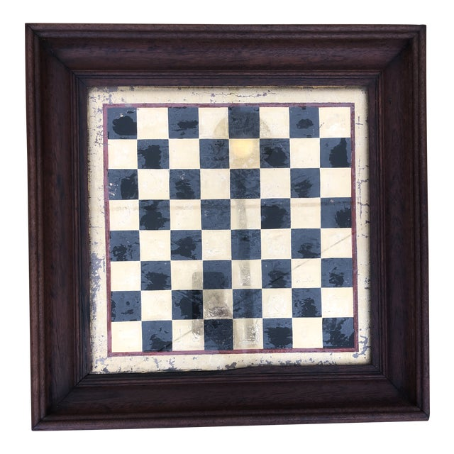 Early 20th Century Reverse Painted Gold Foil Checkers/Chess Game Board For Sale