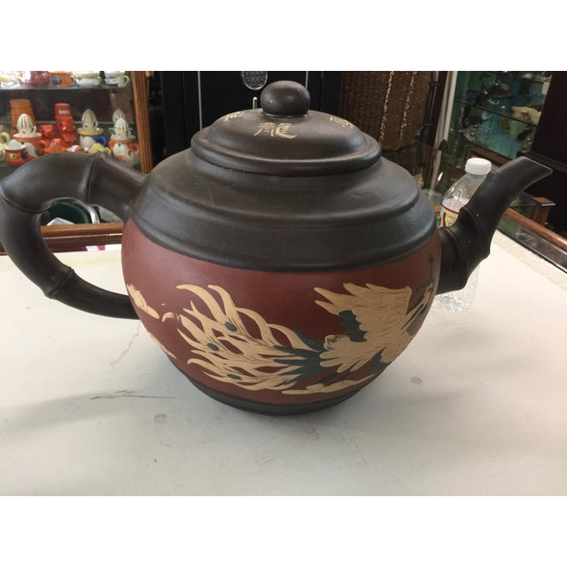 Huge Yixing Chinese Teapot Dragon & Phoenix For Sale - Image 5 of 8