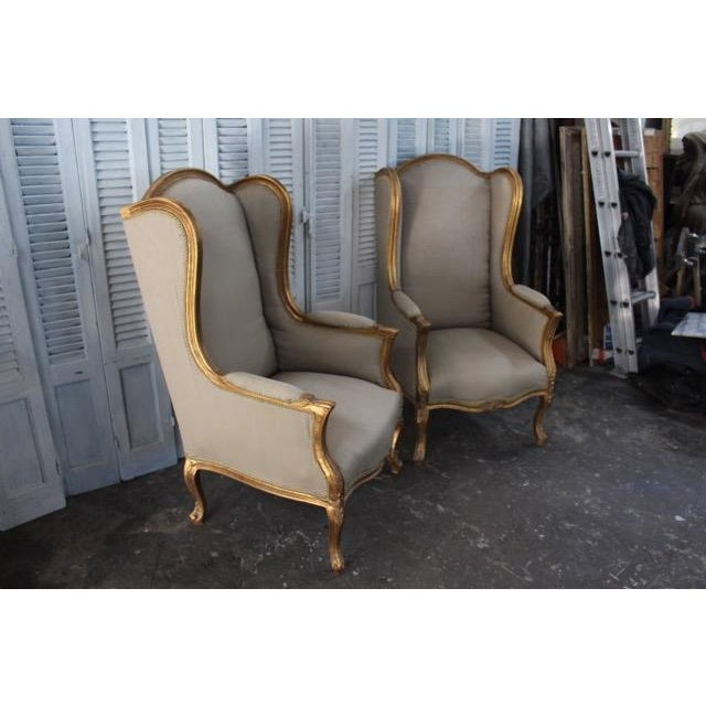 Louis Xv Style Wingback Bergères Chairs - a Pair For Sale - Image 4 of 11
