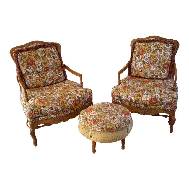 Country French Style Chairs and Ottoman Set - Image 1 of 7