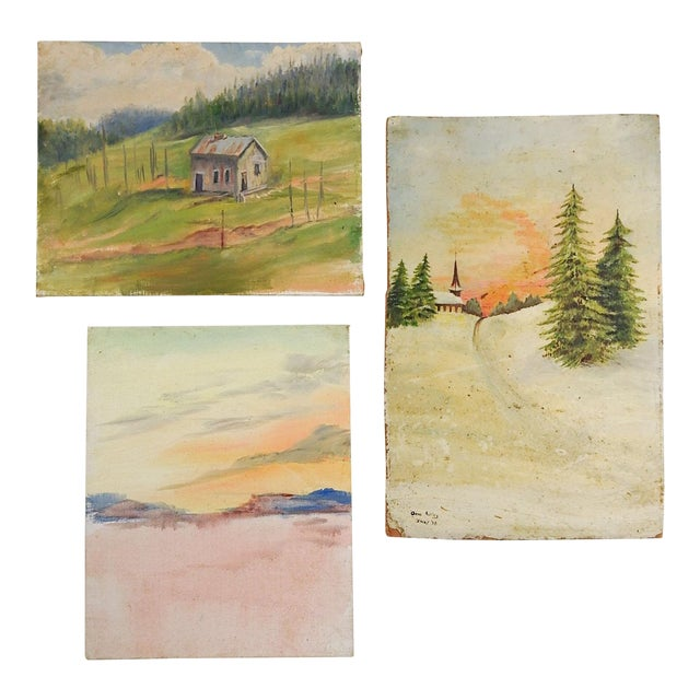 Gallery Wall Group of Rustic Landscape Paintings - Set of 3 For Sale
