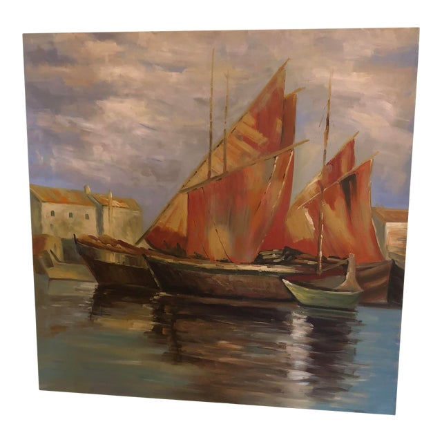 Sailboats Off the Coastline Painting Mid Century France For Sale
