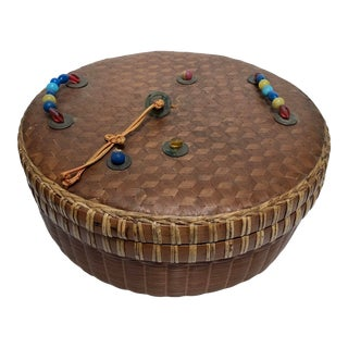 Antique Chinese Sewing Basket With Peking Glass Beads For Sale
