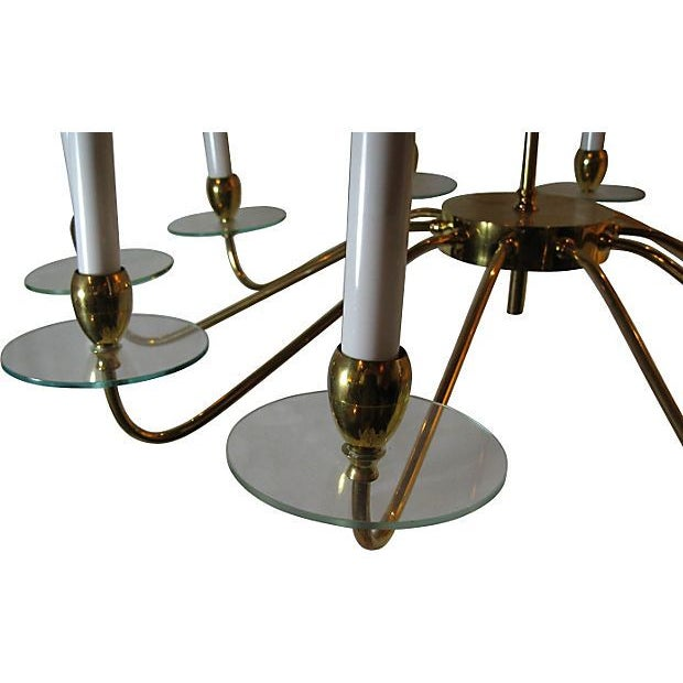 1950s Brass & Glass 10 Light Chandelier For Sale - Image 5 of 5