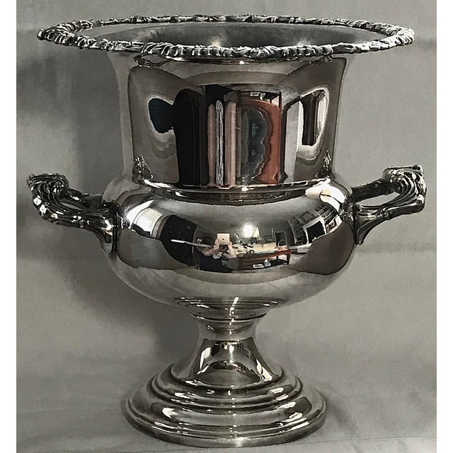Metal Vintage Silver Plate Champagne or Wine Cooler For Sale - Image 7 of 7