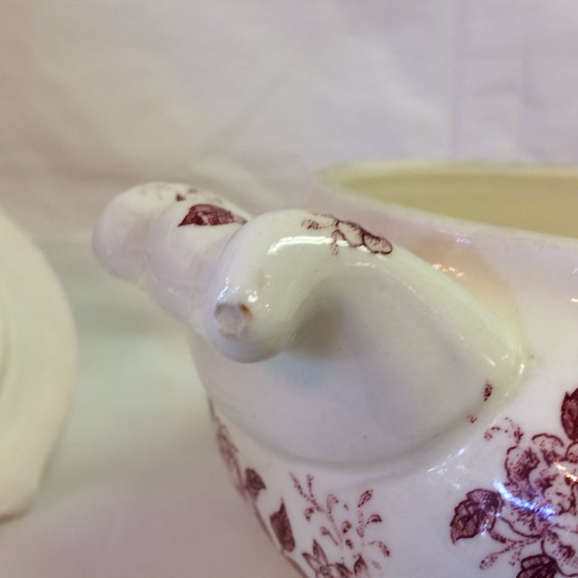 Antique English Rose Transferware Tureen With Underplate - 3 Piece Set For Sale In Sacramento - Image 6 of 12