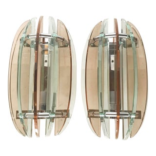 Veca Pink Sconces - A Pair For Sale
