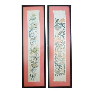 Antique Chinese Chinoiseri Embroidered Panels - a Pair For Sale