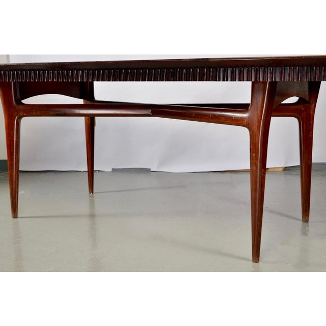 1960s Mid-Century Italian Dining Table With Green Glass Top and Fluted Edge For Sale - Image 5 of 11