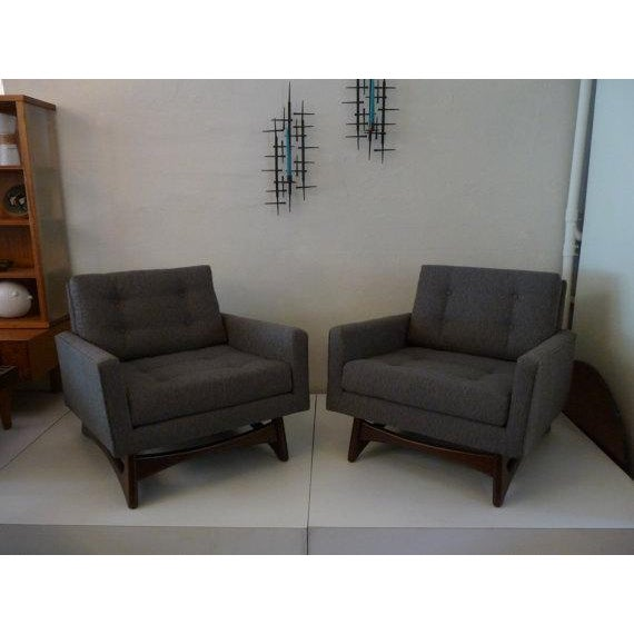 Pair of Mid-Century club chairs by Adrian Pearsall. Recently reupholstered them in a sleek, directional grey fabric to...