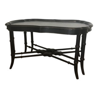 Ethan Allen Black Chinoiserie Coffee Table For Sale