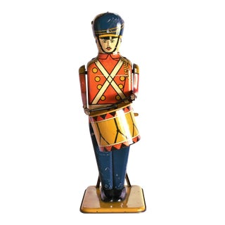 Antique Working Lithograph Tin Wind-Up Toy Drum Major For Sale