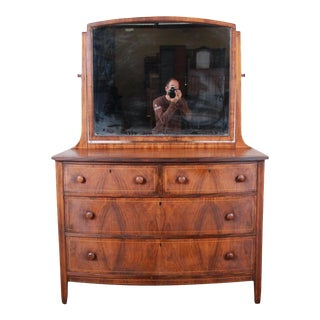 Antique Burled Walnut Bow Front Dresser With Mirror, Circa 1900 For Sale