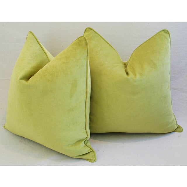 "Ultra Soft Apple Green Velvet Feather/Down Pillows 24"" Square - Pair For Sale - Image 9 of 10"
