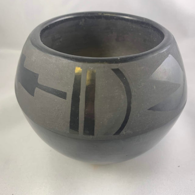 Mid 20th Century Southwest Santa Clara Black on Black Matte Black Ware Jar by Lucaria Tafoya For Sale - Image 5 of 13