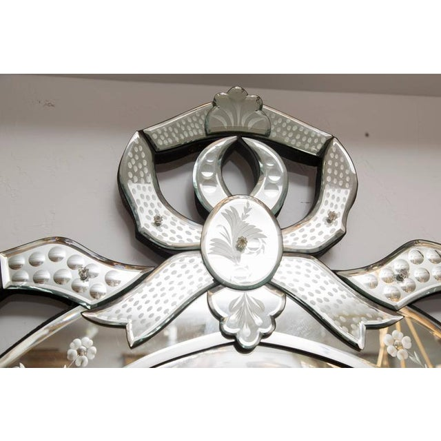 Venetian Etched Ribbon Design Wall Mirror For Sale In West Palm - Image 6 of 9