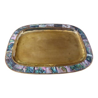 Vintage Hand Hammered Brass & Abalone Tray