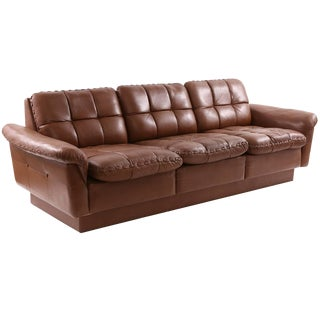 1970s De Sede Hand-Stitched Patinated Leather Sofa For Sale
