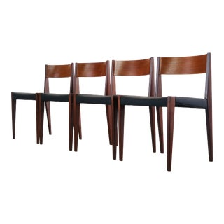 """SET OF 4 Cado """"PIA' Danish Modern Dining Chairs in Black For Sale"""