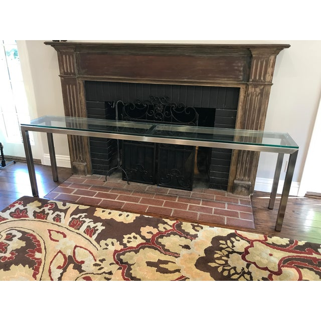 Room and Board Steel Glass Top Portico Console Table - Image 2 of 4
