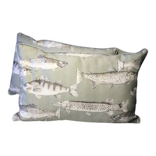 Bolster Pillows Fish Made in Wales - a Pair For Sale