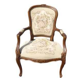 French Provincial Carved Wood Tapestry Armchair For Sale