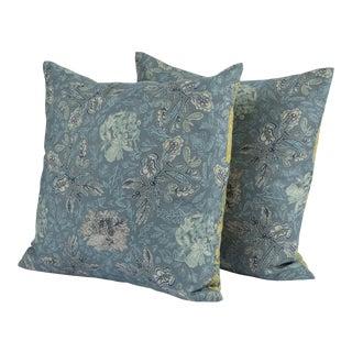 Ferrick Mason Custom Blue & Green Elizabeth Knife Edge Pillows - A Pair For Sale