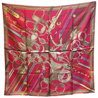 Rare Hermes Concours d'Etriers Silk Scarf in Pink For Sale