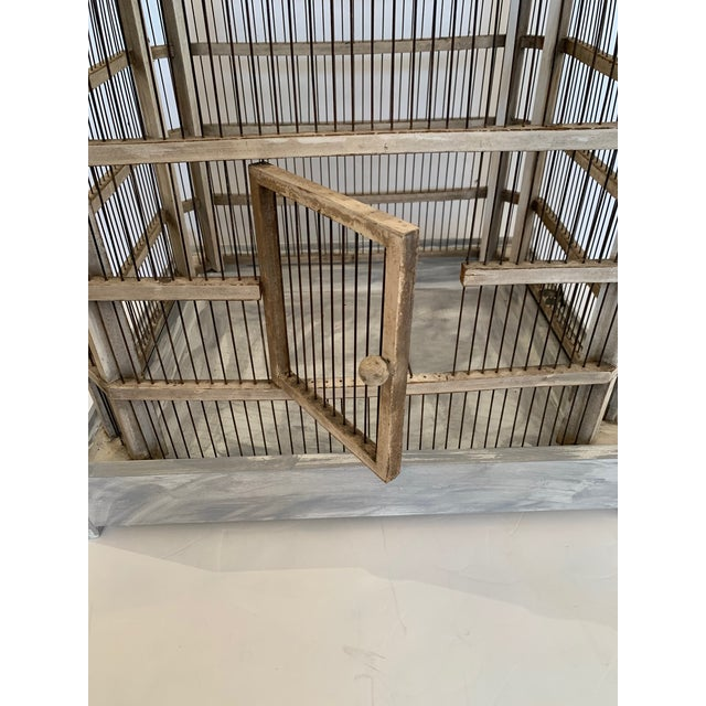 Large Painted Grey Wood & Wire Birdcage For Sale - Image 4 of 12