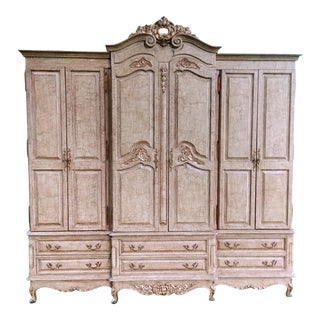 1990s French Bau Carved Aged White Crackle Painted Wardrobe For Sale