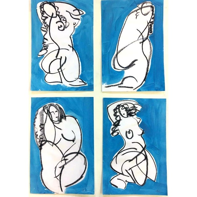 Figurative Ali Blue Drawing by Heidi Lanino - 18x12 For Sale - Image 3 of 4