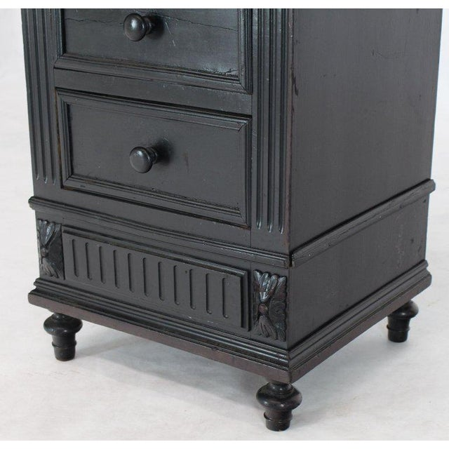 Marble Top Ebonized Black Four Drawers Drop Front Compartment Barber Stand For Sale - Image 9 of 12
