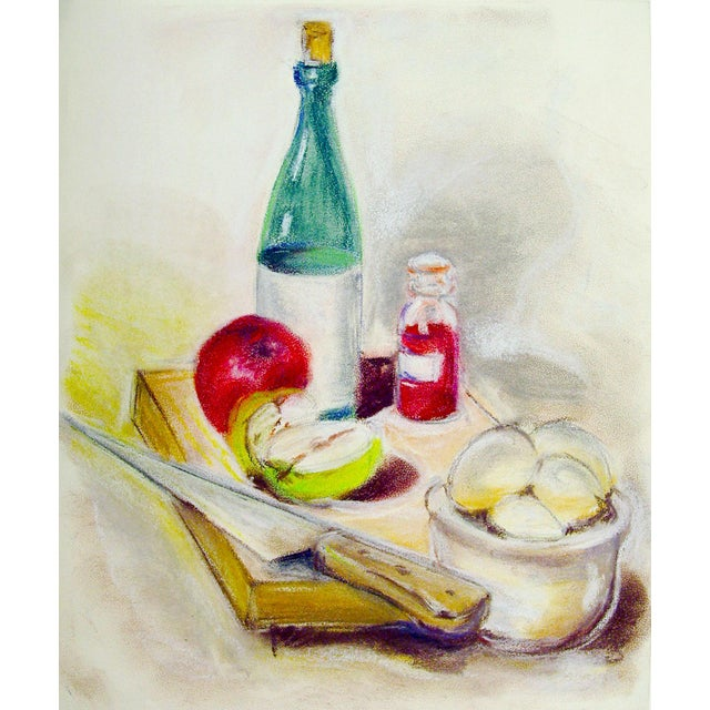 Wine and Apples Pastel Still Life Drawing For Sale - Image 4 of 4