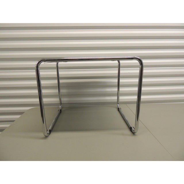 Contemporary Marcel Breuer Style Tubular Steel Side Table For Sale - Image 3 of 5