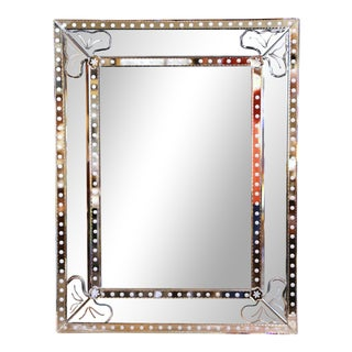 Mid-20th Century Italian Overlay Venetian Mirror With Painted Floral Etching For Sale