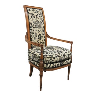 French Style Cream and Black Patterned Crewel Armchair For Sale