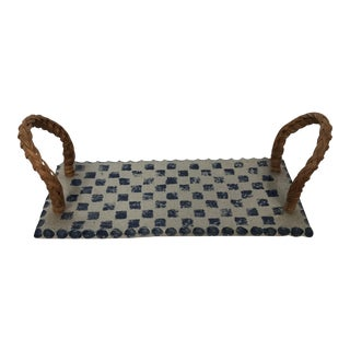Pottery Tray with Woven Handles